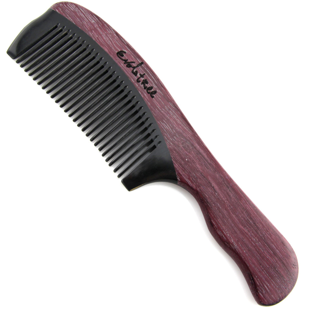 Evolatree - Elegant Natural Handcrafted Comb - Fine Tooth - Purpleheart Wood Ox Horn Fine Tooth - 7""
