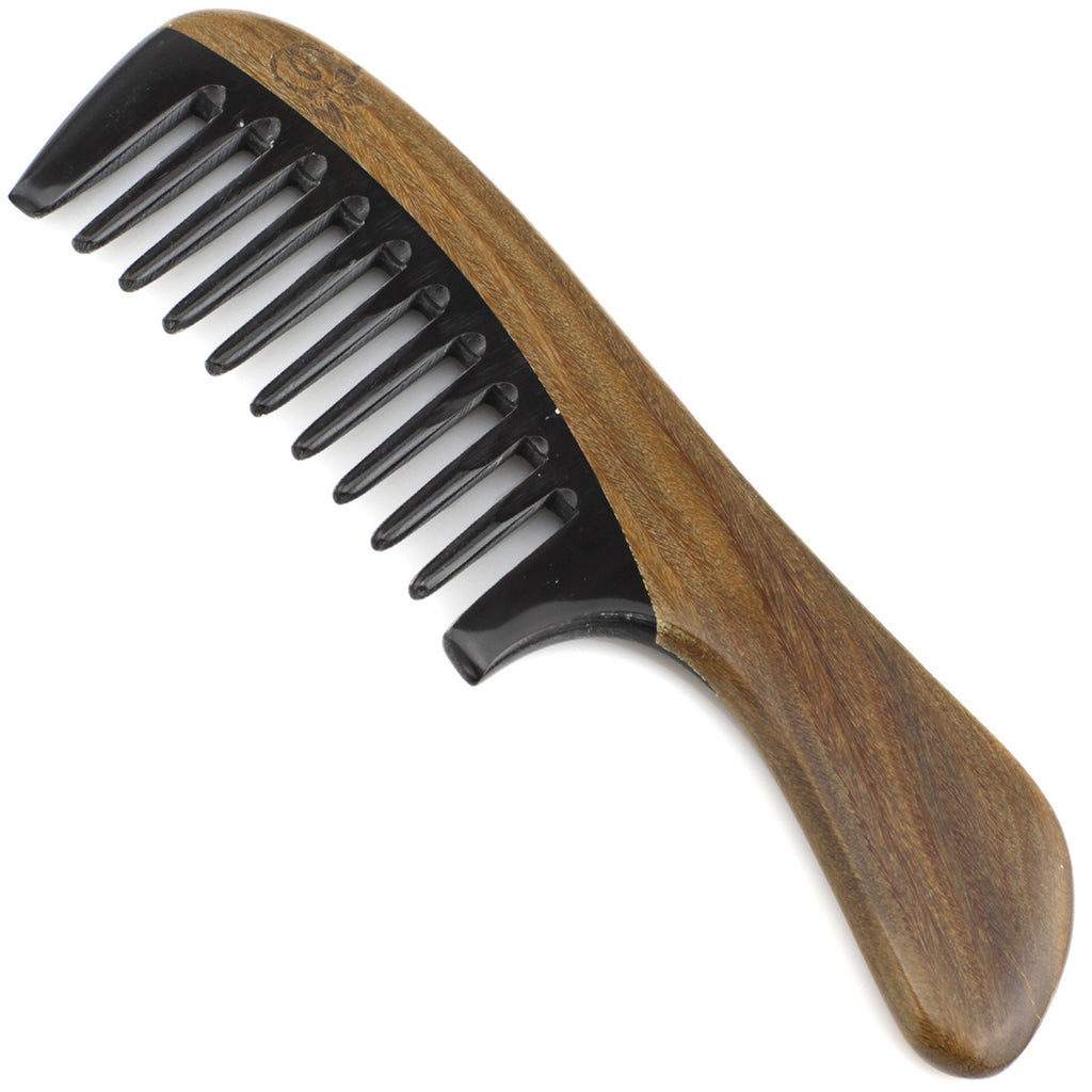 Evolatree - Elegant Natural Handcrafted Comb - Wide Tooth - Lignum Vitae Wood & Ox Horn - 6.75""