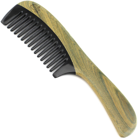 Evolatree - Elegant Natural Handcrafted Comb - Wide Tooth - Lignum Vitae Wood & Ox Horn - 8""