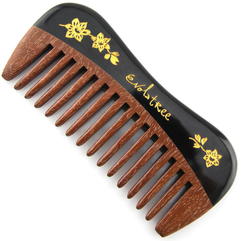 Evolatree - Elegant Natural Handcrafted Comb - Wide Tooth - Rose Wood & Ox Horn - Pocket Size - Painted Gold Floral Inlay - 4.75""