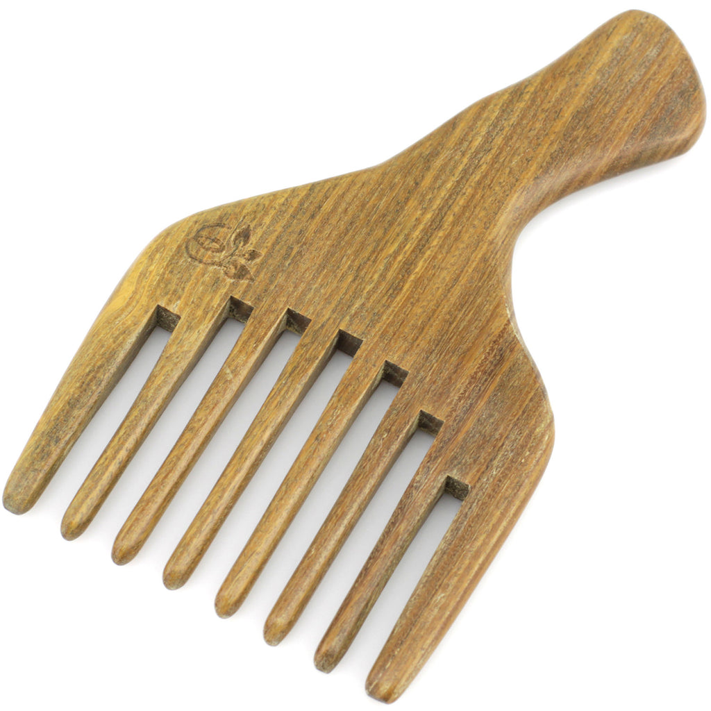 "Evolatree - Elegant Natural Handcrafted Pick Comb - Wide Tooth - Lignum Vitae Wood - 5.5"" x 3.25"""