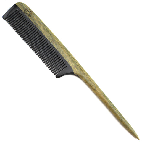 Evolatree - Elegant Natural Handcrafted Tail Comb - Fine Tooth - Lingnum Vitae Wood & Ox Horn - 8""