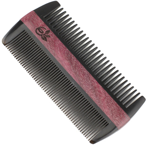 Evolatree - Natural Handcrafted Comb - Fine Tooth - Lignum Vitae Wood & Ox Horn - 4.5""
