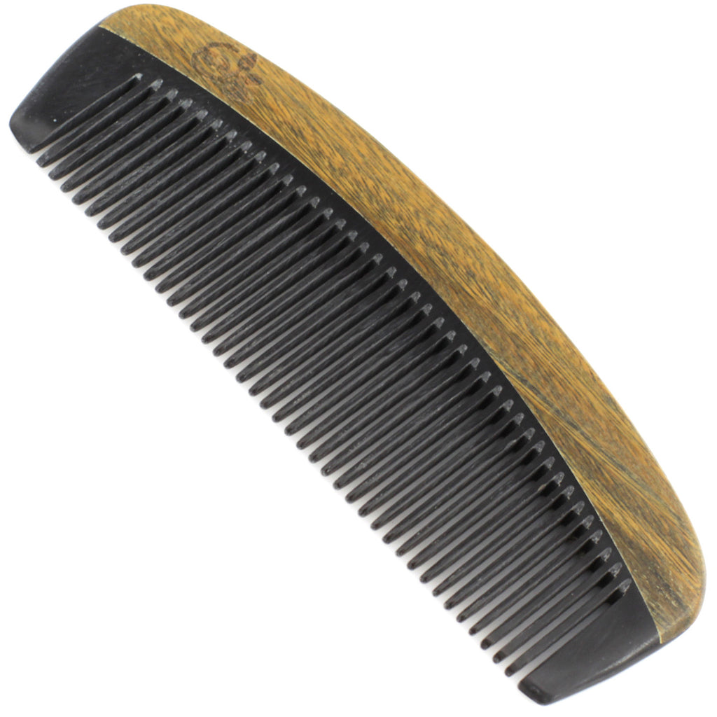 Evolatree - Natural Handcrafted Comb - Fine Tooth - Lignum Vitae Wood & Ox Horn - 5""