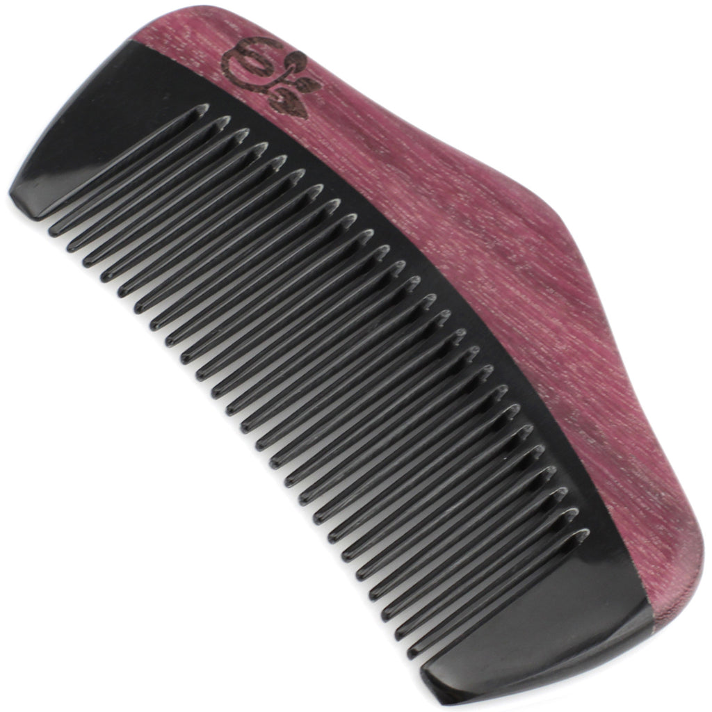 Evolatree - Natural Handcrafted Comb - Fine Tooth - Purple Heart Wood & Ox Horn - Pocket Size - 4.25""