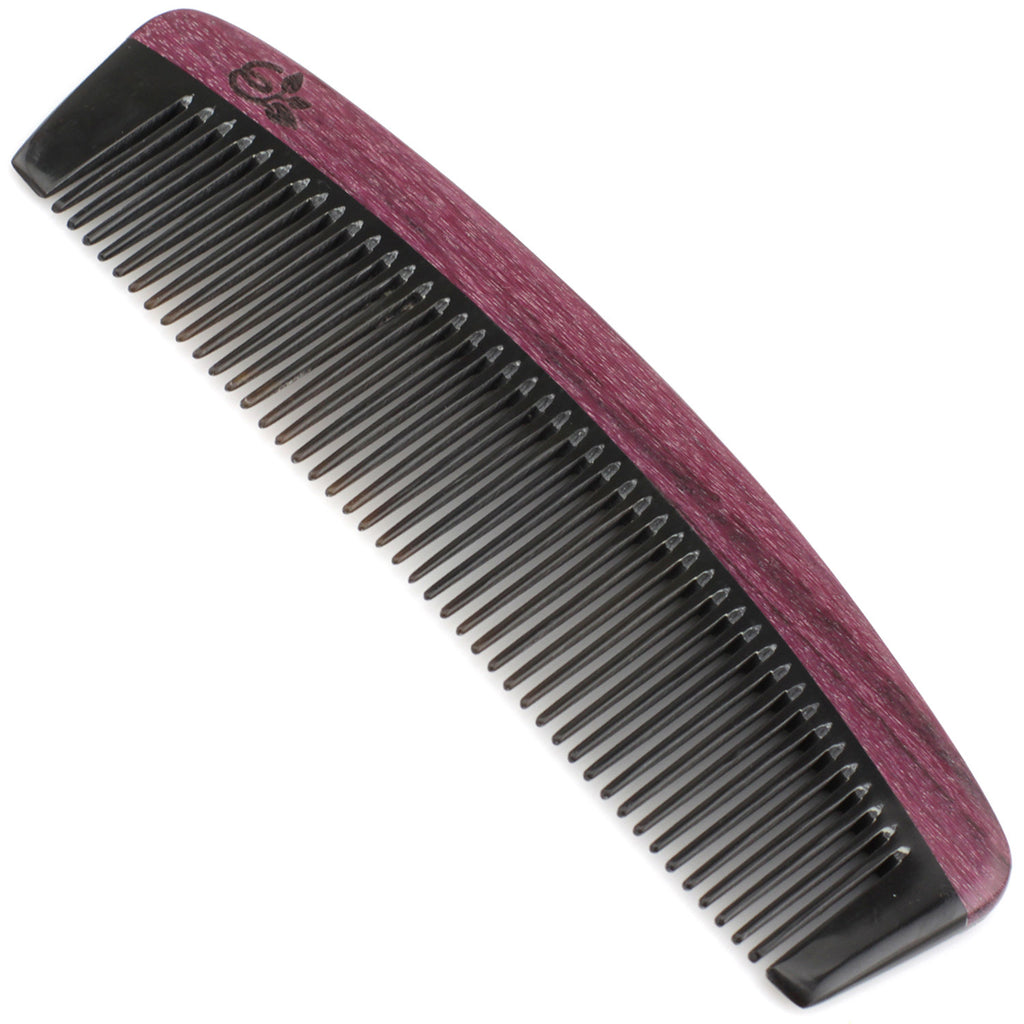 Evolatree - Natural Handcrafted Comb - Fine Tooth - Purpleheart Wood & Ox Horn - 6""