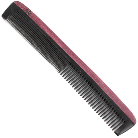 Evolatree - Natural Handcrafted Comb - Fine Tooth - Purpleheart Wood & Ox Horn - 7""
