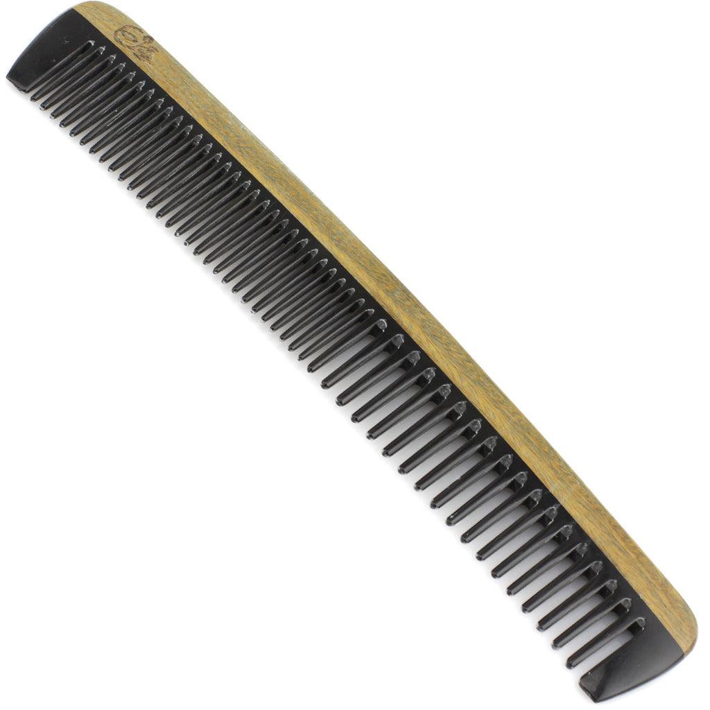 Evolatree - Natural Handcrafted Comb - Wide Tooth - Lignum Vitae Wood & Ox Horn - 8""