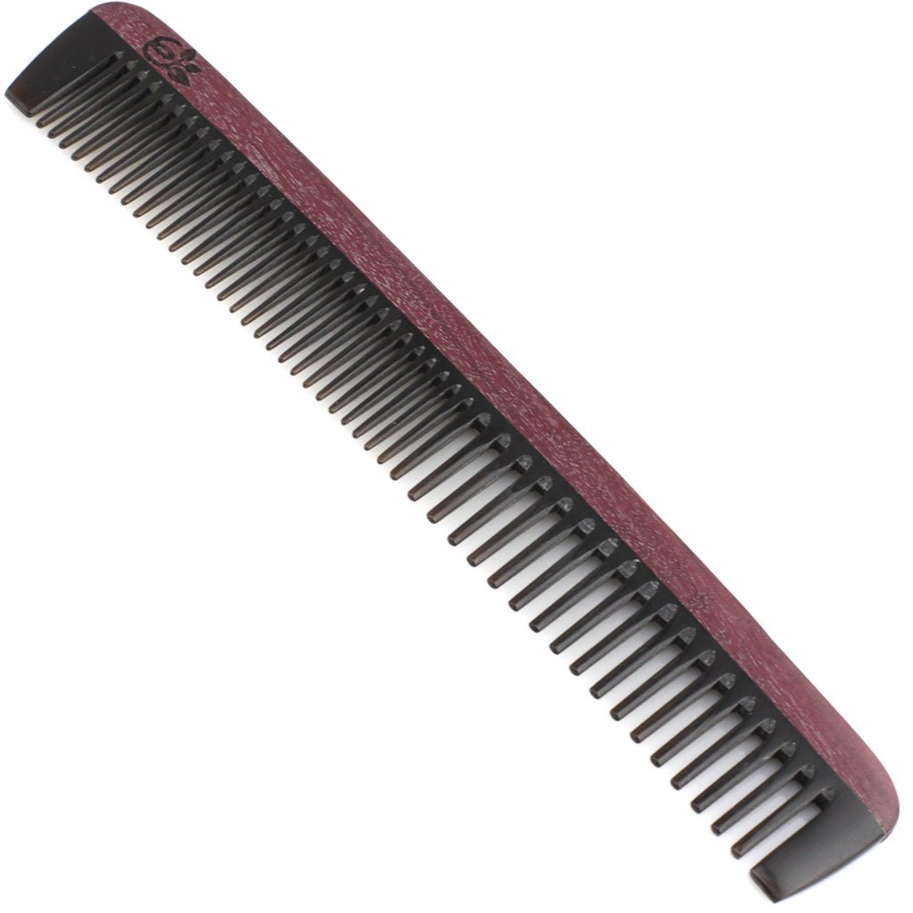 Evolatree - Natural Handcrafted Comb - Wide Tooth - Purpleheart Wood & Ox Horn - 8""