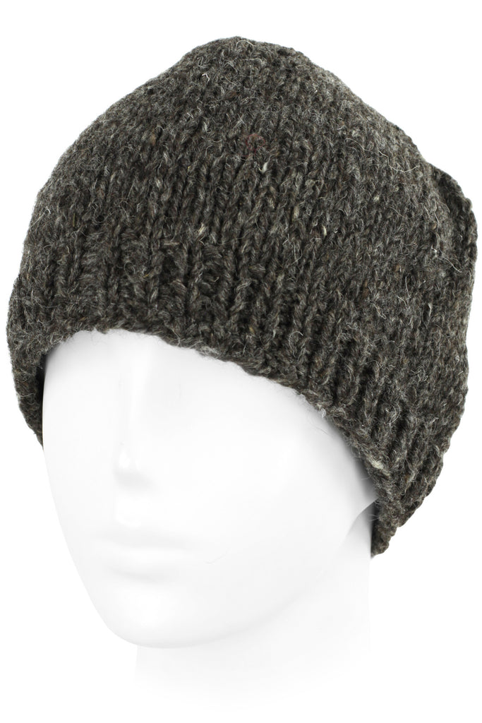 Knit Wool Beanie Skull Cap Toque With Fleece Lining - Charcoal Brown