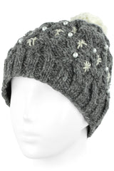 Knit Wool Beanie Skull Cap Toque With Fleece Lining - Oxford Gray With Ivory White Pompom
