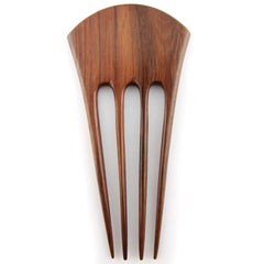 Evolatree - Quad Prong Sono Wood Oriental Fan Carved Design Hair Stick Pin - 6""