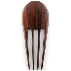 Evolatree - Quad Prong Sono Wood Retro Carved Design Hair Stick Pin - 6""