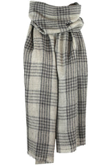 Luxurious Himalayan Cashmere Pashmina Scarf Shawl - Gray, Taupe & Sandy White Plaid