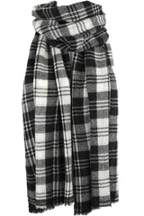 Luxurious Himalayan Cashmere Mid Weight Pashmina Scarf Shawl - Black & White Plaid