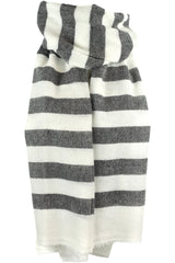 "Luxurious Himalayan Cashmere Pashmina Scarf Shawl - Off White & Charcoal - 1.75"" Stripe"