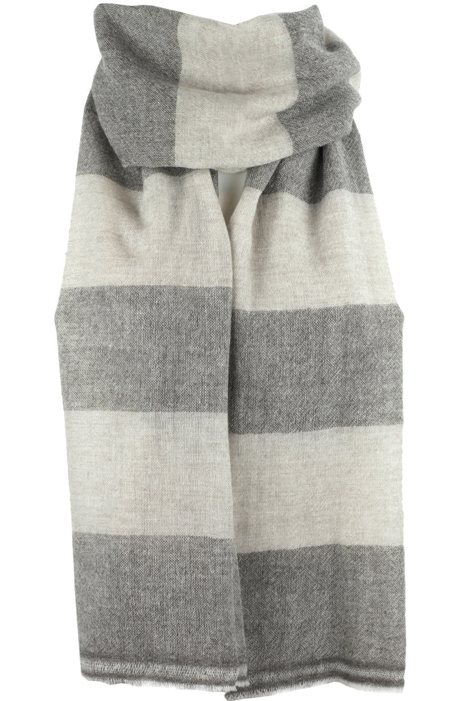 "Luxurious Himalayan Cashmere Pashmina Scarf Shawl - Taupe Brown & Neutral Cream - 4.25"" Stripe"