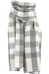 Luxurious Himalayan Cashmere Pashmina Scarf Shawl - Ivory White & Gray Plaid