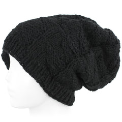 Knit Wool Beanie Skull Cap Toque With Fleece Lining - Black