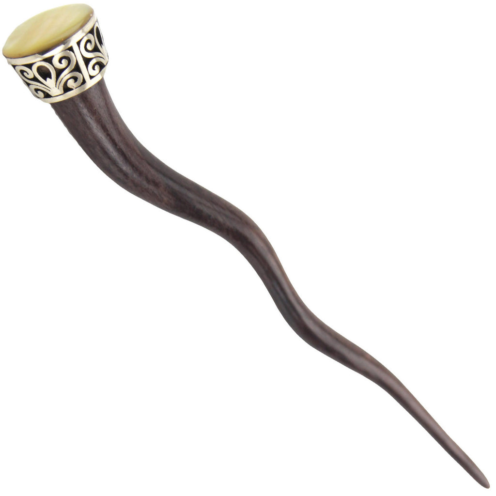 Evolatree - Hand Carved Wavy Sono Wood Hair Stick - MOP Shell - Steel Filigree Wrap - 7""