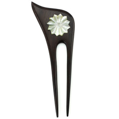 Evolatree - Asymetrical Double Prong Wood Hair Stick - Mother Of Pearl Shell, Star Burst - 6""