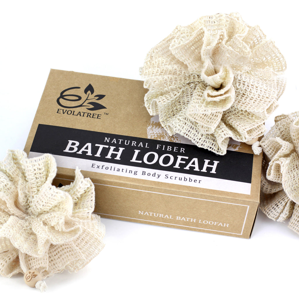 Evolatree Bath Shower Loofah Sponge Natural Exfoliating Body Scrub
