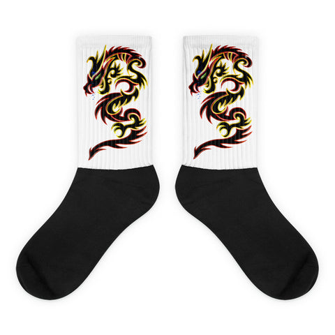 Tattoo Tribal Dragon Black foot socks - Keywebco