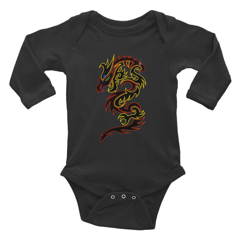Tattoo Tribal Dragon Infant Long Sleeve Bodysuit - Keywebco