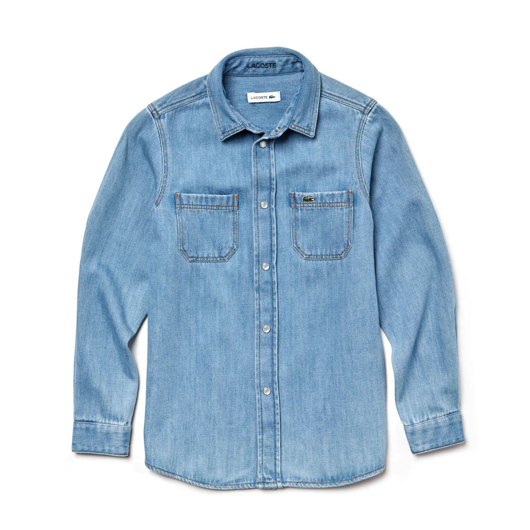LACOSTE BOY'S COTTON DENIM SHIRT - CJ9001-51 - Ateaze Canada