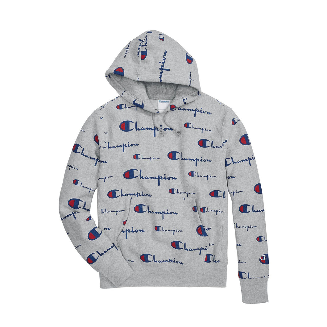 Champion Life® Men's Reverse Weave® Pullover Hoodie, All Over Logo (Multi Scale Script) - S2974 - Ateaze Canada