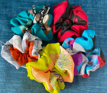 Pack of Five Assorted Saree Scrunchies