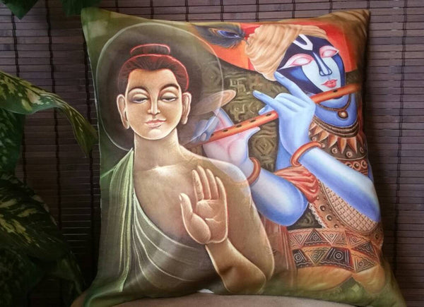 Krishna-Budha Digital print Bohemian Cushion Covers