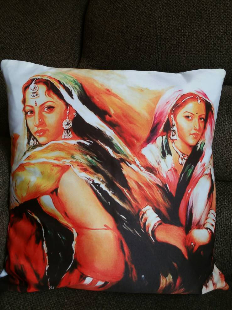 Two Indian Girls-Bohemian Digital Print Cushion Covers