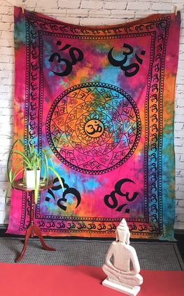 Authentic Bohemian Tiedye Ohm Tapestry