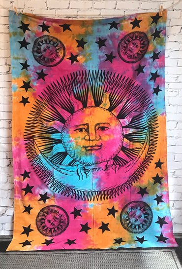 Bohemian sun and moon tapestry