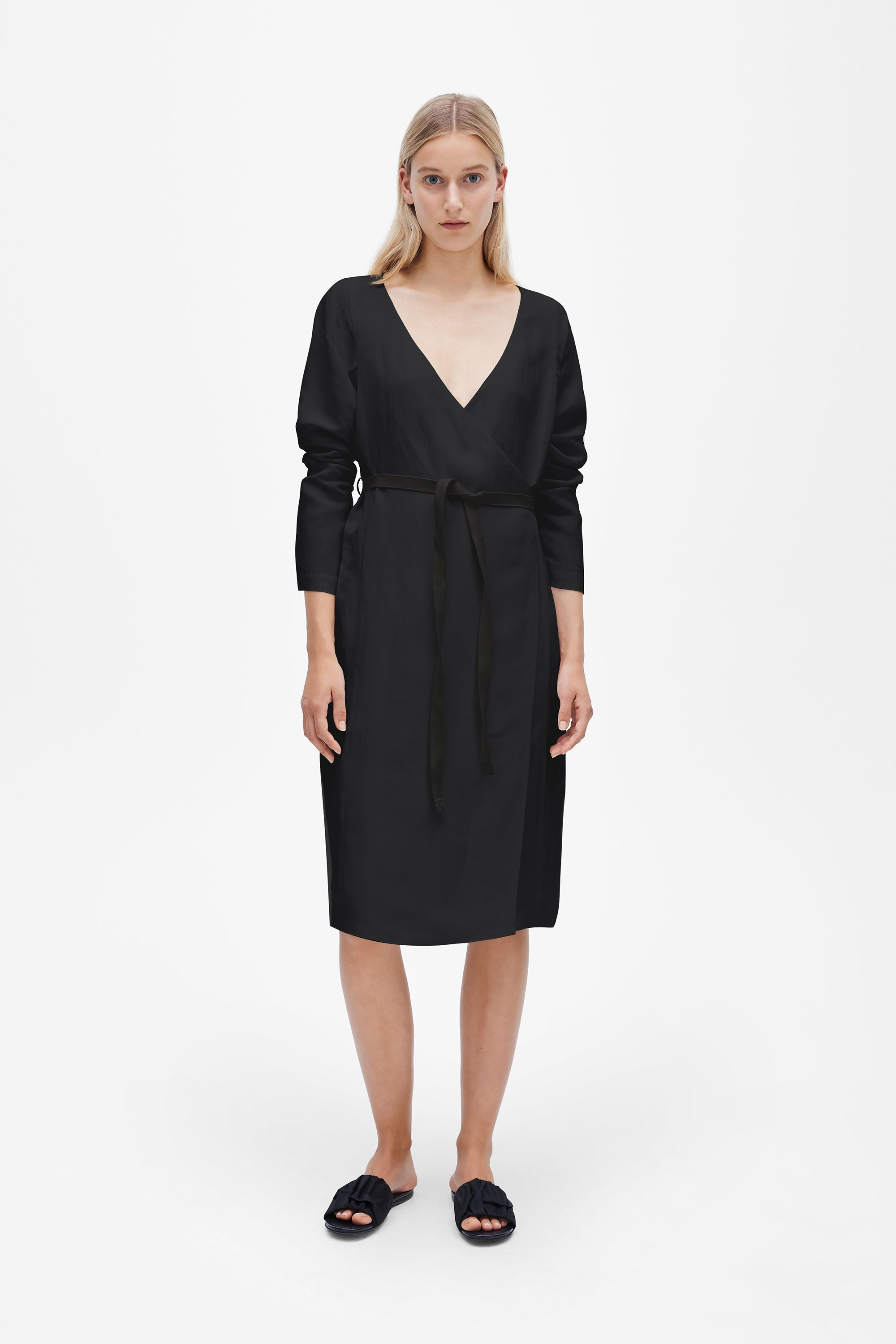 Tie wrap dress - Linen blend - Black