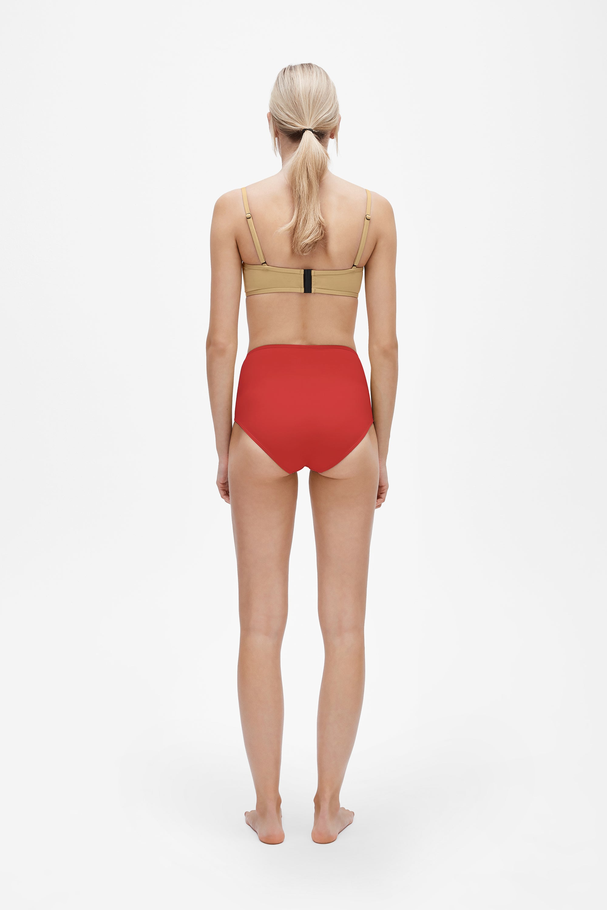 Lily top in Light straw - Brief in Lava red