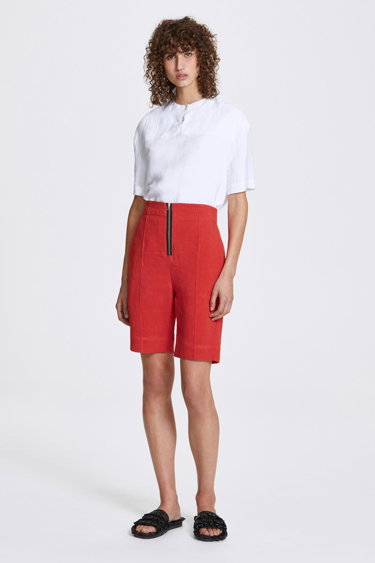 Exposed wide leg shorts - Heavy linen - Lava red - Resortwear shorts - Her Line
