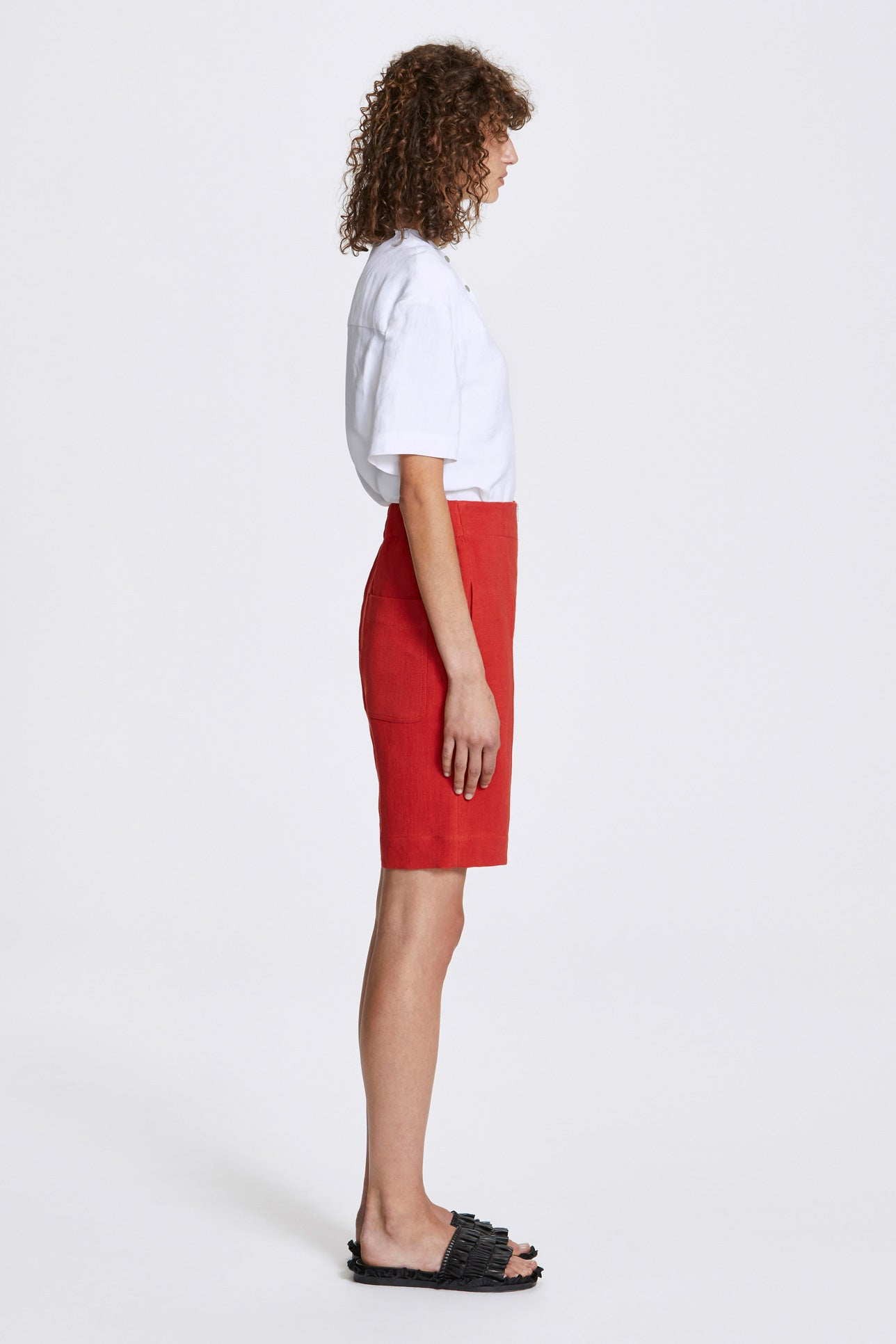 Exposed wide leg shorts - Heavy linen - Lava red