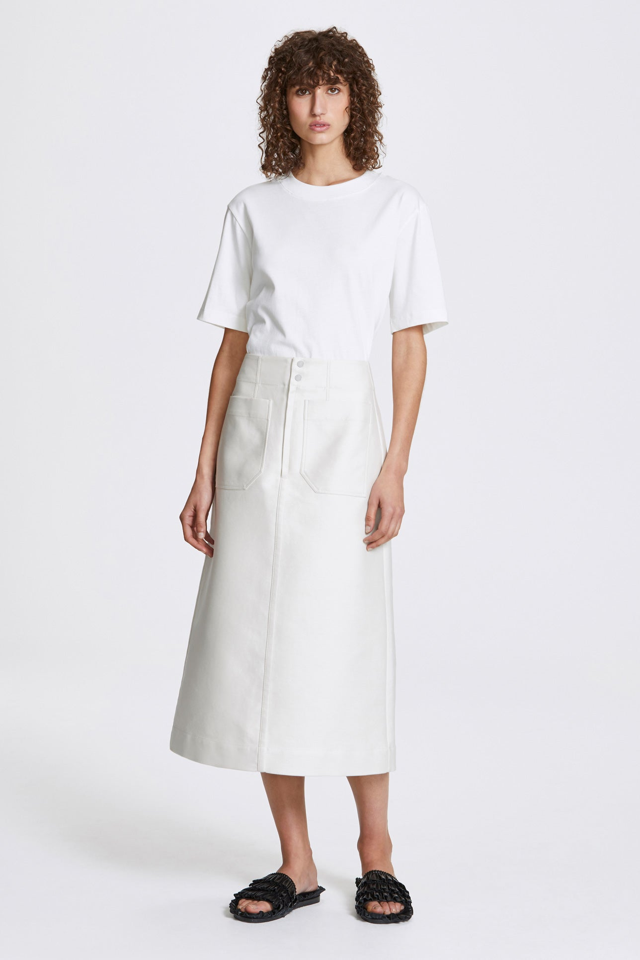 Inverse a-line long skirt - Double-faced cotton twill - Cream - Resortwear skirt - Her Line