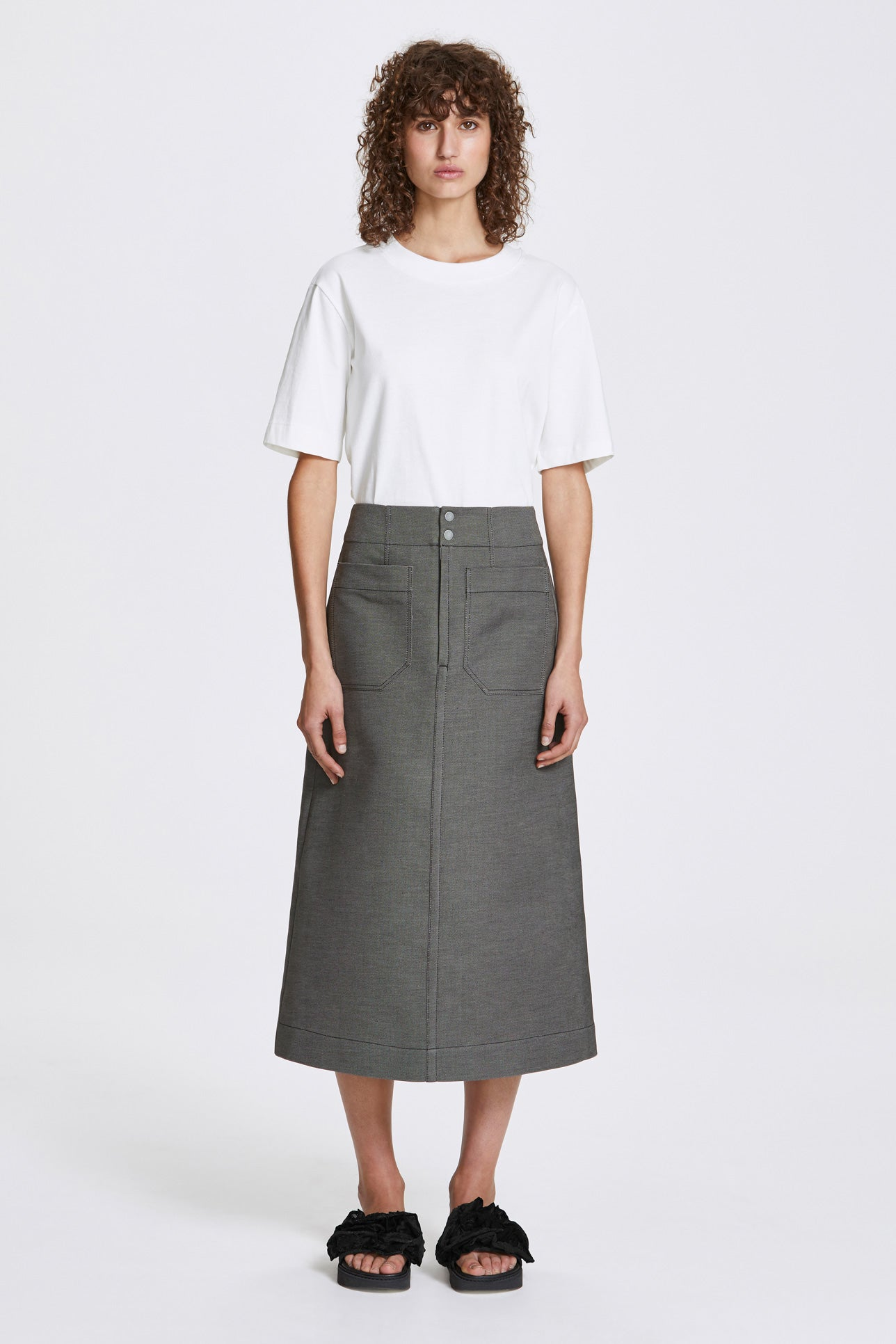 Inverse a-line long skirt - Double-faced cotton twill - Grey - Resortwear skirt - Her Line