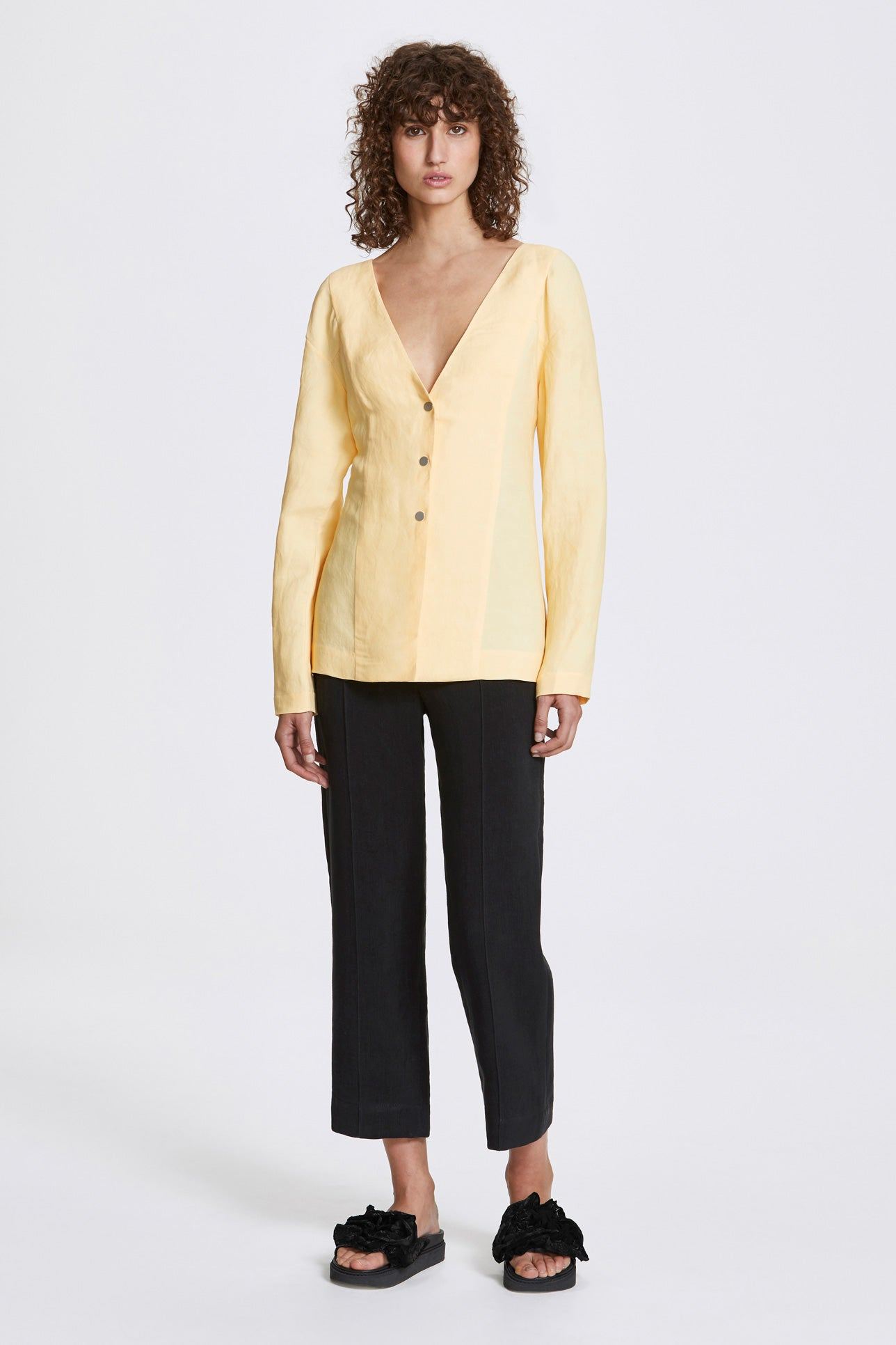 Studded long sleeve blouse - Linen blend - Butter yellow