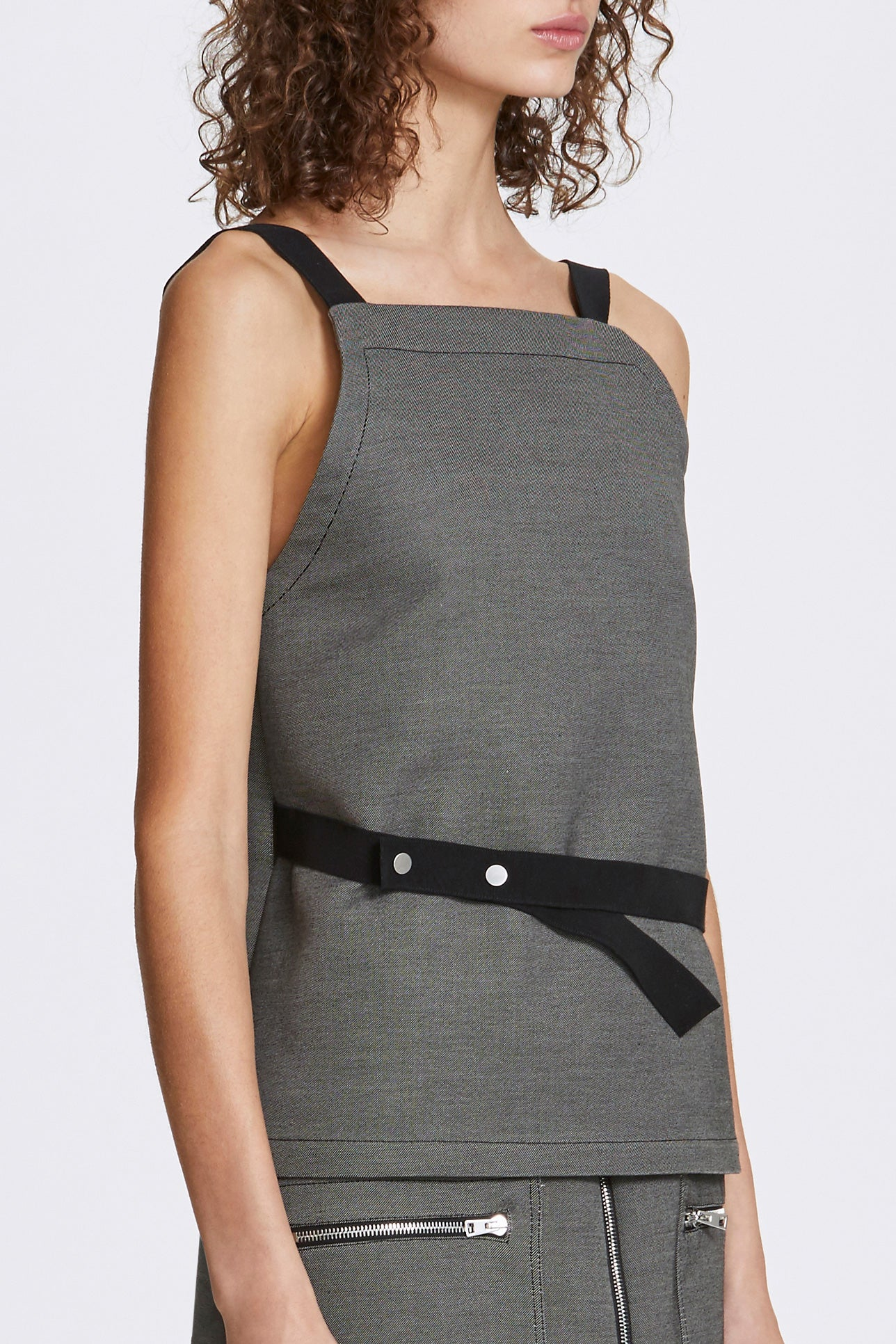 Bi-stud wrap top - Double-faced cotton twill - Grey - Resortwear top - Her Line