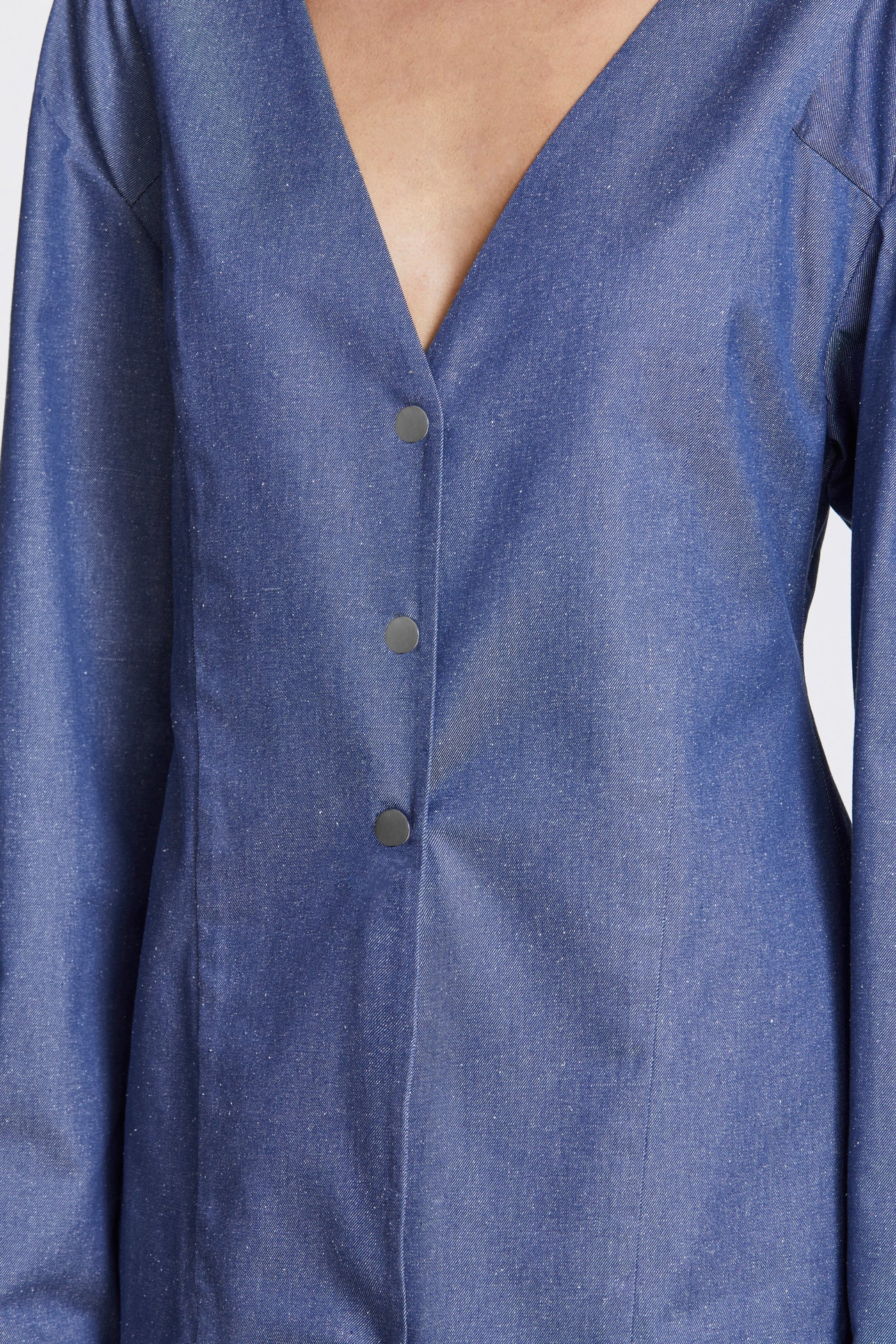Studded long sleeve blouse - Silk cotton - Blue denim