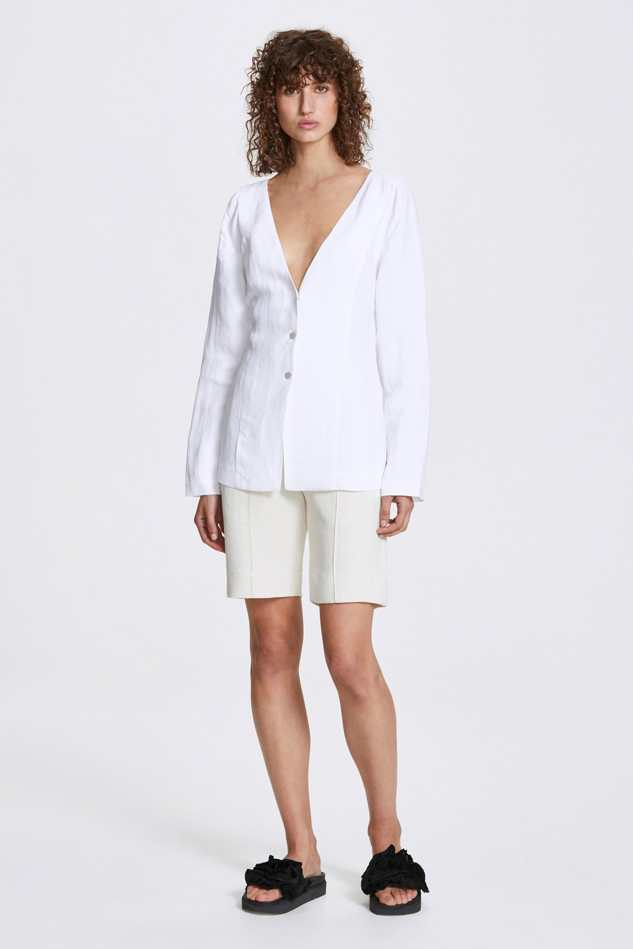 Studded long sleeve blouse - Linen blend - White