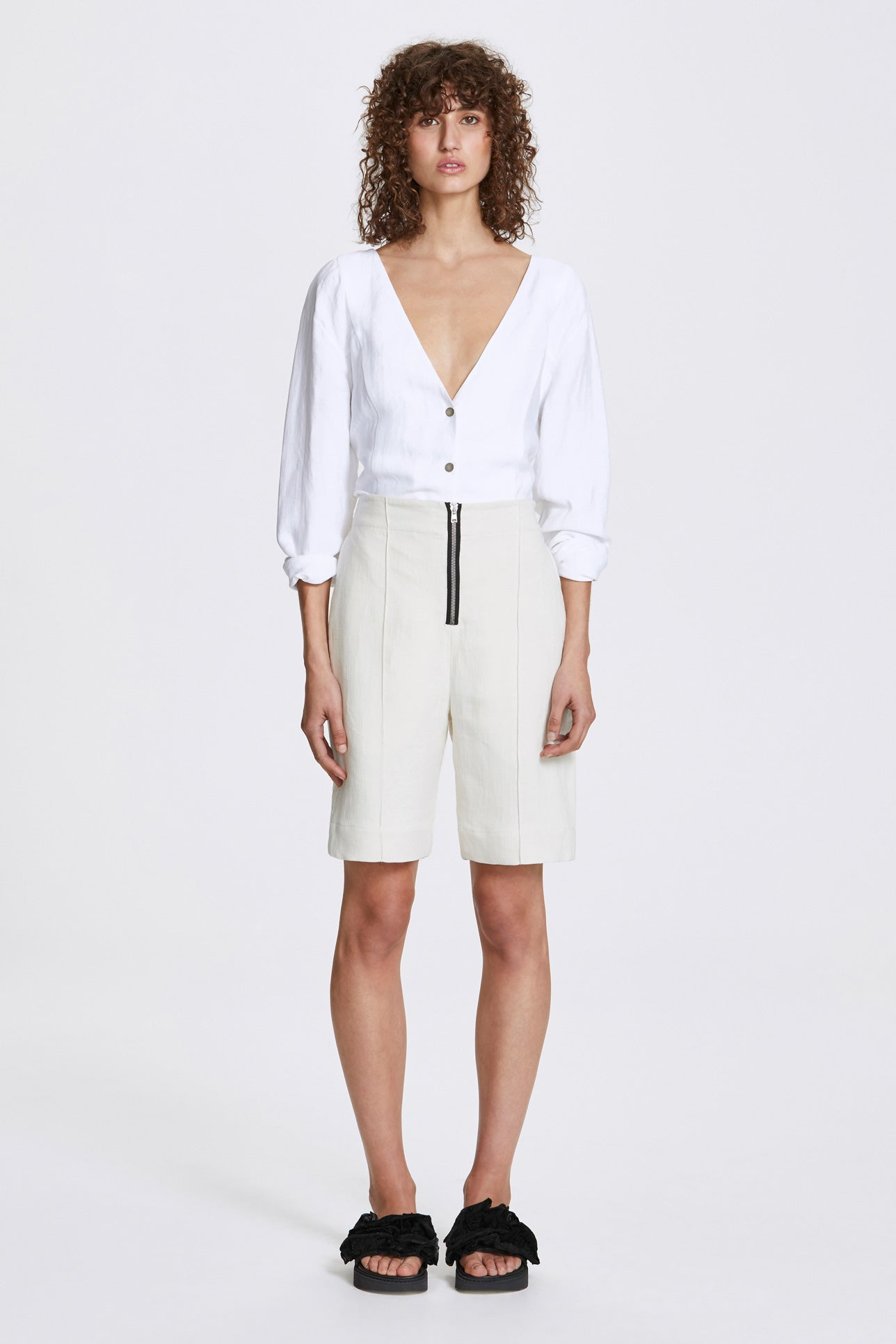 Exposed wide leg shorts - Heavy linen - Natural