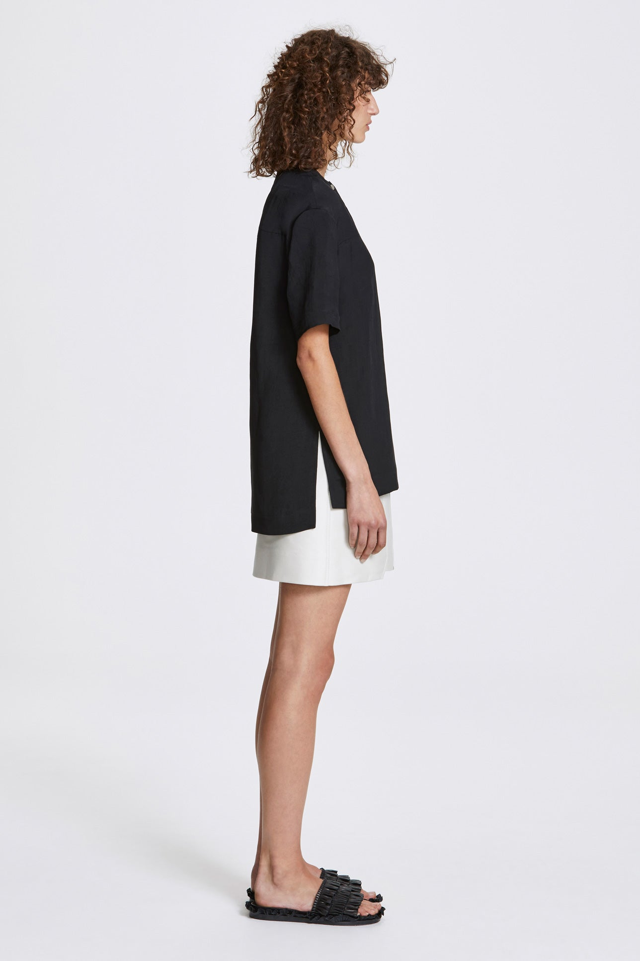 Bi-stud dropped top - Linen blend - Black