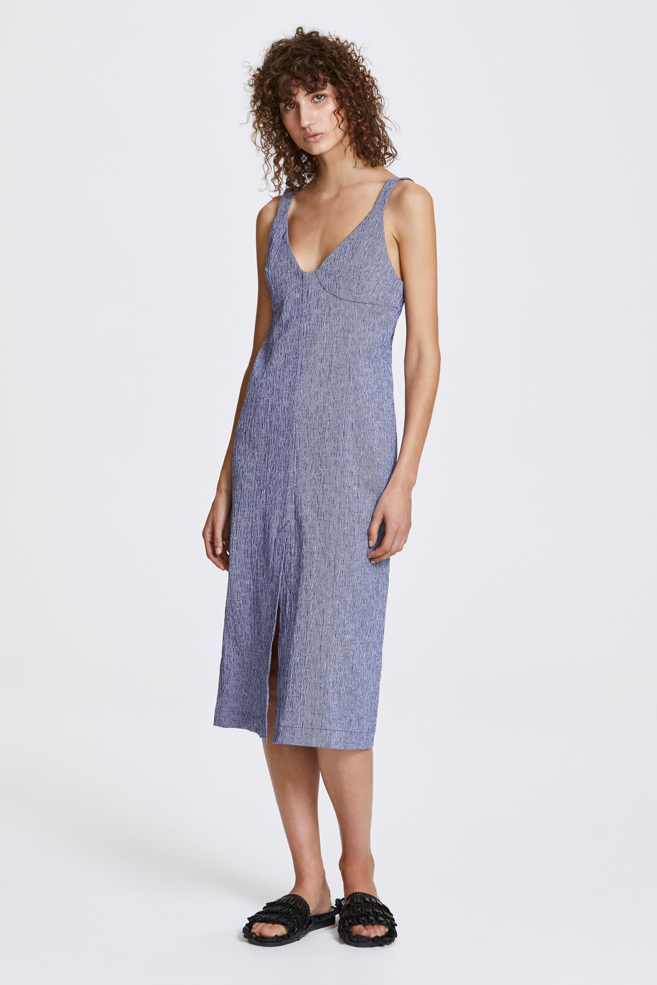 Double vent slip dress - Textured cotton stripe - Blue and white