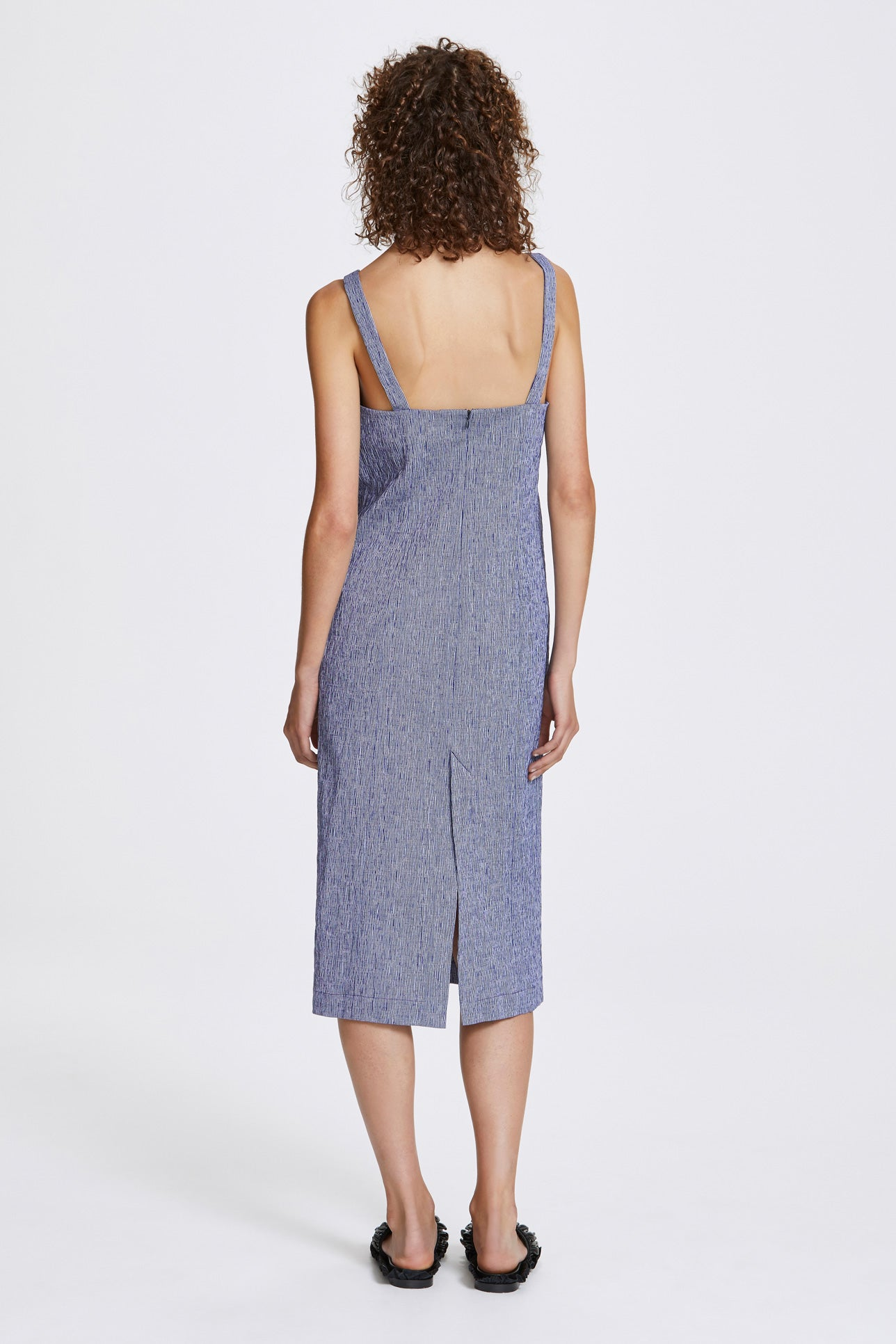 Double vent slip dress - Textured cotton stripe - Blue and white - Resortwear dress - Her Line