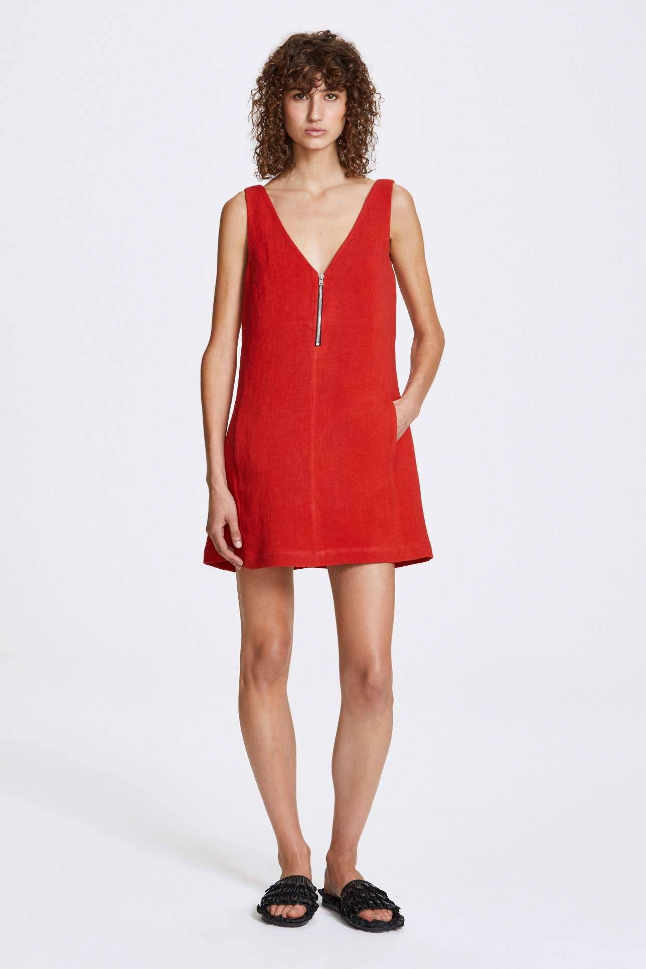 Zip a-line dress - Heavy linen - Lava red